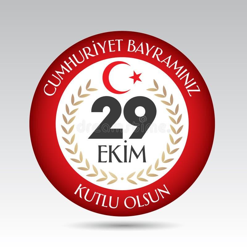 29 ekim Cumhuriyet Bayrami. Translation: 29 october Republic Day Turkey and the National Day in Turkey. royalty free illustration