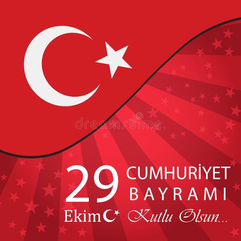29 Ekim Cumhuriyet Bayrami Turkse betekenis: 29 oktober Republiek royalty-vrije illustratie
