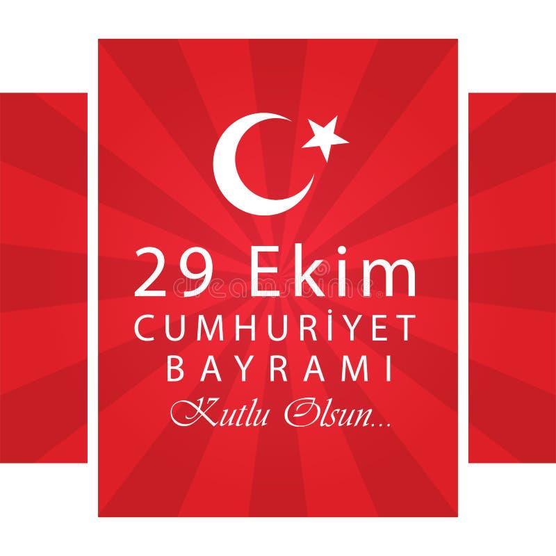 29 Ekim Cumhuriyet Bayrami Turkse betekenis: 29 oktober Republiek stock illustratie