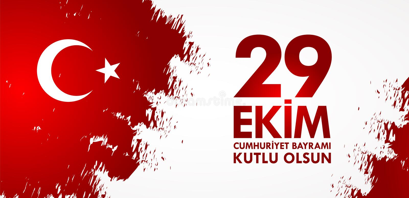 29 Ekim Cumhuriyet Bayraminiz kutlu olsun Übersetzung: Am 29. Oktober glücklicher Tag der Republik die Türkei stock abbildung
