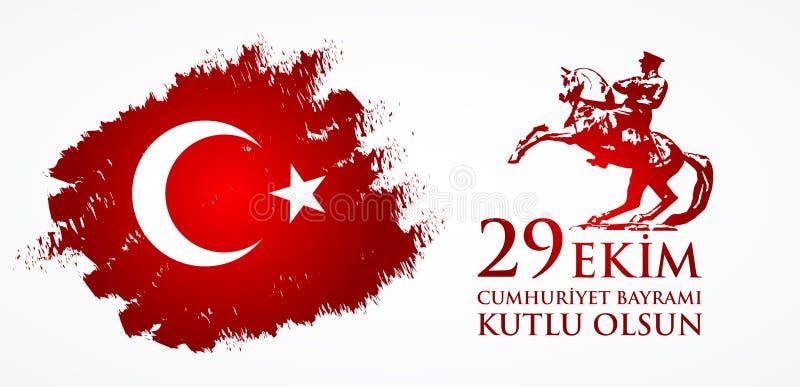 29 Ekim Cumhuriyet Bayraminiz kutlu olsun Przekład: 29 Października republiki Szczęśliwy dzień Turcja ilustracja wektor