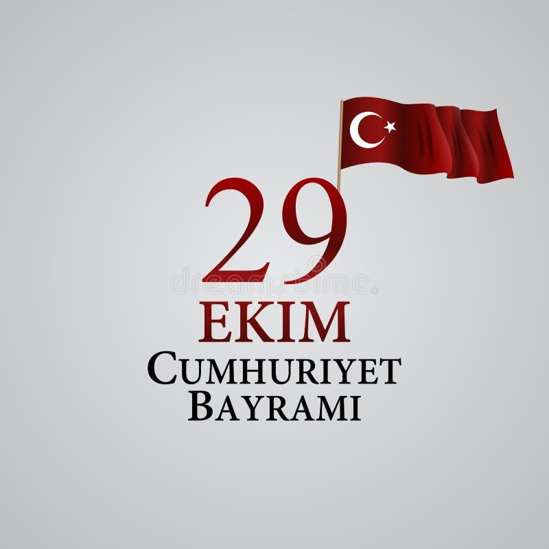 29 Ekim Cumhuriyet Bayraminiz Vertaling: 29 oktober-Republiek Dag Turkije Vector illustratie royalty-vrije illustratie
