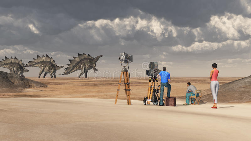 Ekipa filmowa i dinosaura stegozaur ilustracja wektor