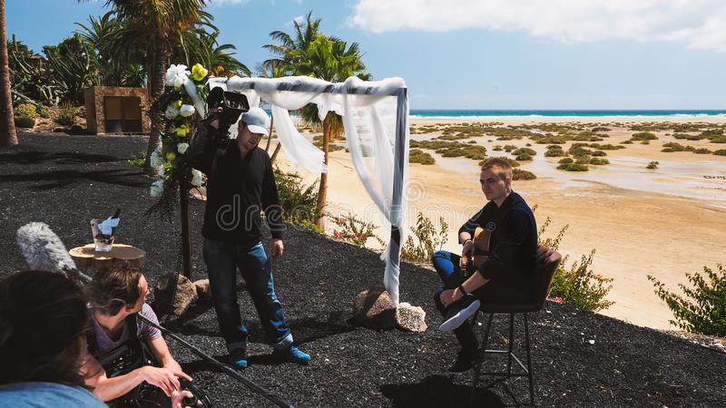 ekipa telewizyjna na secie fotografia royalty free