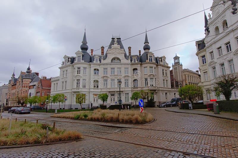 Eklektisk neo flemish renässansvilla i det Zurenborg området, Antwerp royaltyfria bilder