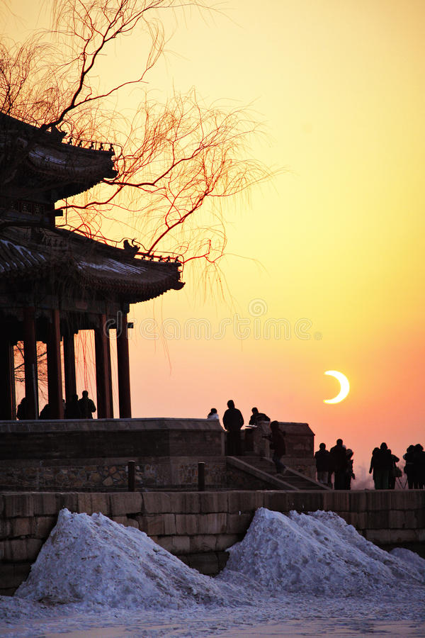 Eklipse der Sonne Peking lizenzfreies stockfoto