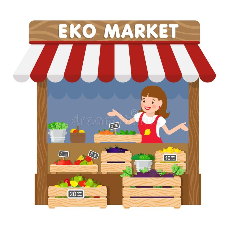Eko Market, Lebensmittelgeschäft-Kiosk-flache Vektor-Illustration stock abbildung