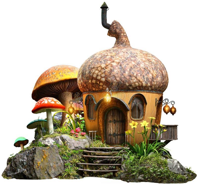 Ekollonhus och illustration för champinjoner 3D royaltyfri illustrationer