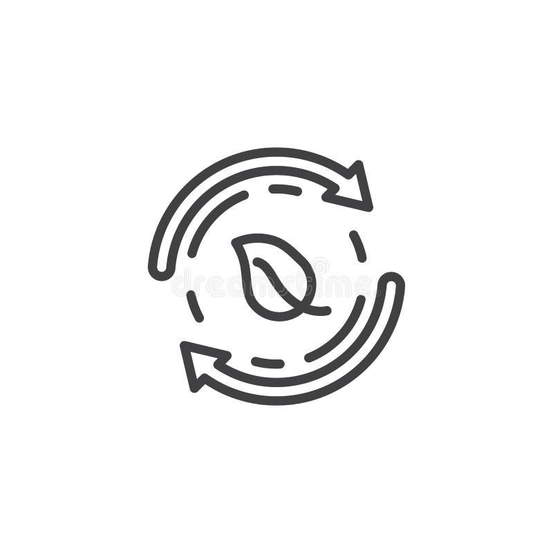 Ekologi återanvänder linjen symbol vektor illustrationer