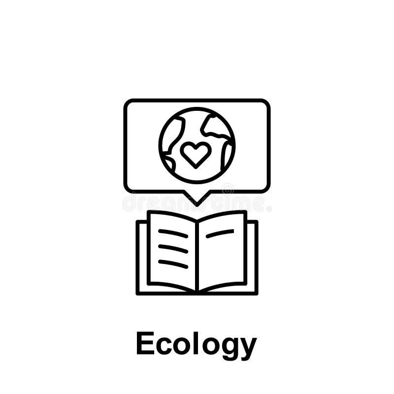 Ekologi bok, jordsymbol Best?ndsdel av f?roreningproblemsymbolen Tunn linje symbol f?r websitedesignen och utveckling, app-utveck vektor illustrationer