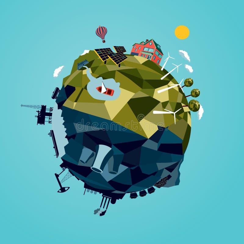 Ekologi & energi royaltyfri illustrationer