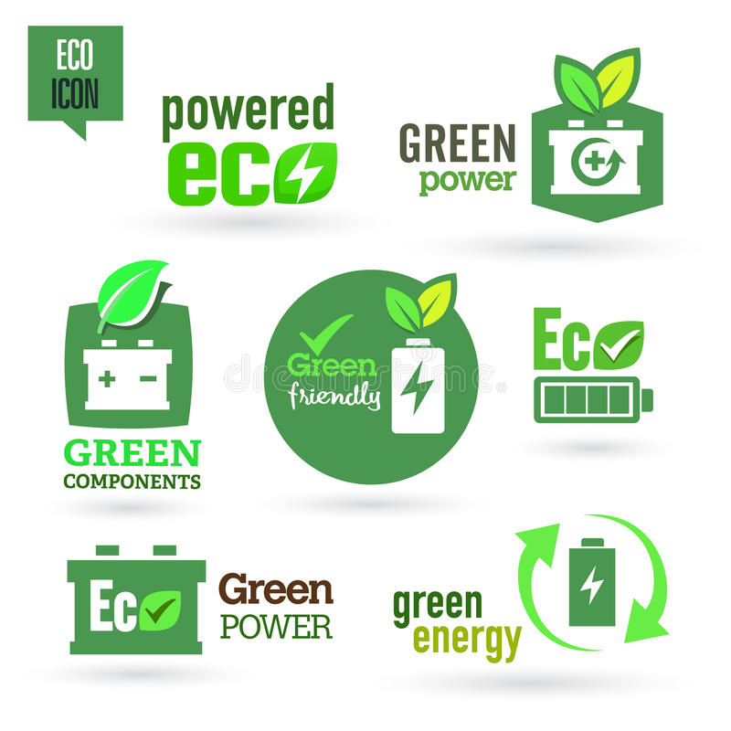 Ekologi - gräsplan - förnybar symbolsuppsättning vektor illustrationer