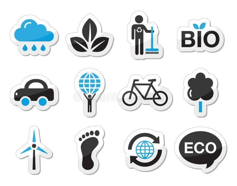 Ekologi gräsplan som återanvänder symbolsuppsättningen stock illustrationer
