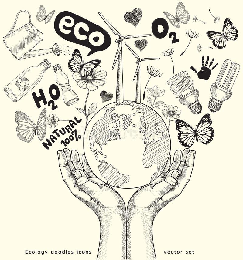 Ekologi klottrar symboler som drar på papper. vektor illustrationer