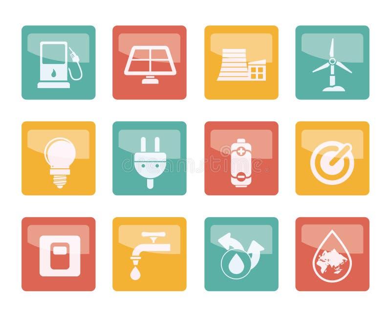 Ekologi-, makt- och energisymboler över kulör bakgrund royaltyfri illustrationer