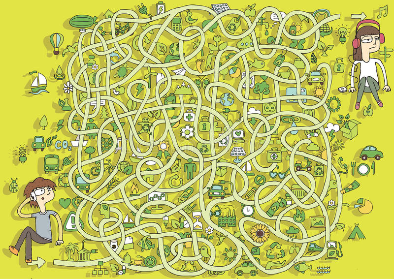 Ekologi Maze Game. Lösning i gömt lager! royaltyfri illustrationer
