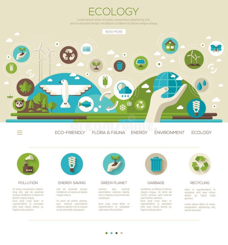 Ekologi miljö, grön energi stock illustrationer