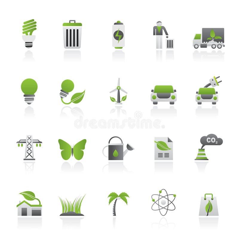 Ekologi-, miljö- och natursymboler 1 stock illustrationer