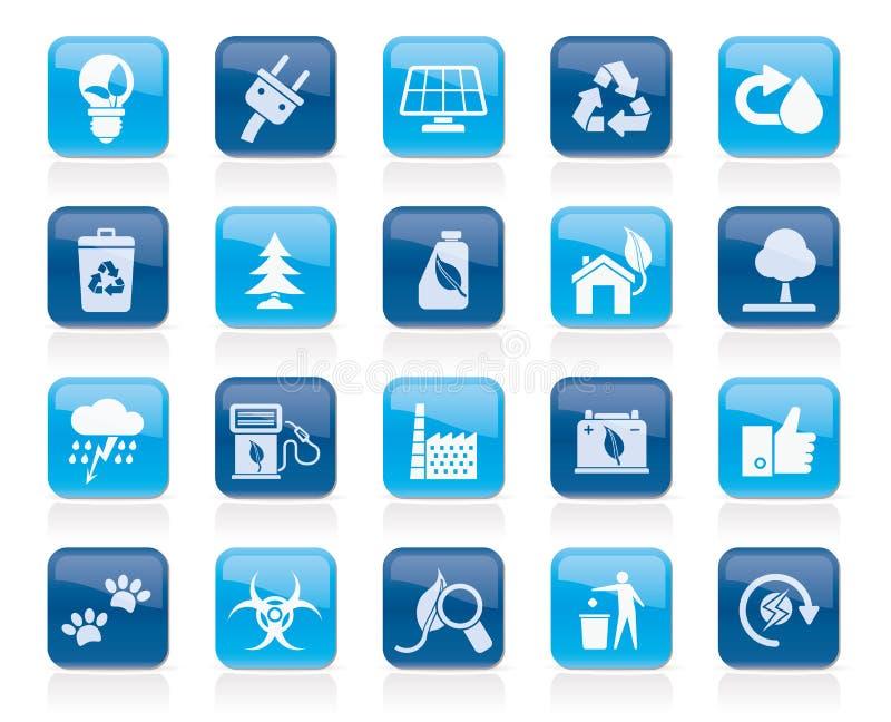 Ekologi-, miljö- och natursymboler 2 stock illustrationer