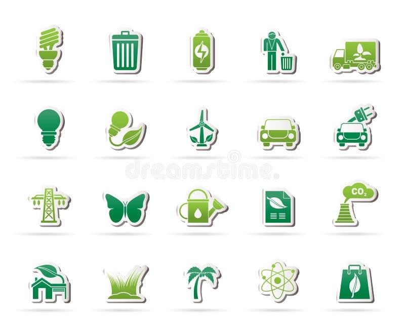 Ekologi-, miljö- och natursymboler 1 royaltyfri illustrationer