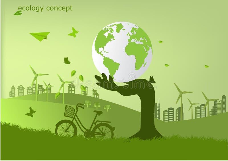 Ekologi miljöbegrepp för hed jorden royaltyfri illustrationer