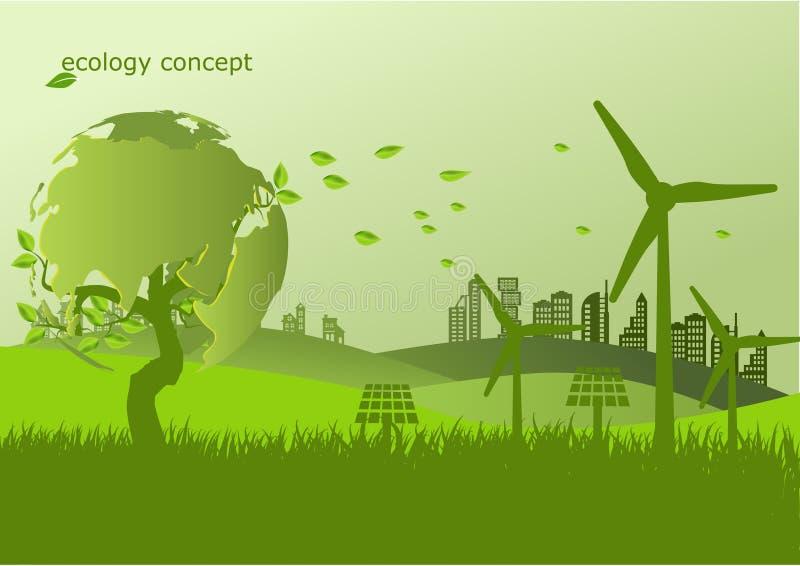 Ekologi miljöbegrepp för hed jorden stock illustrationer
