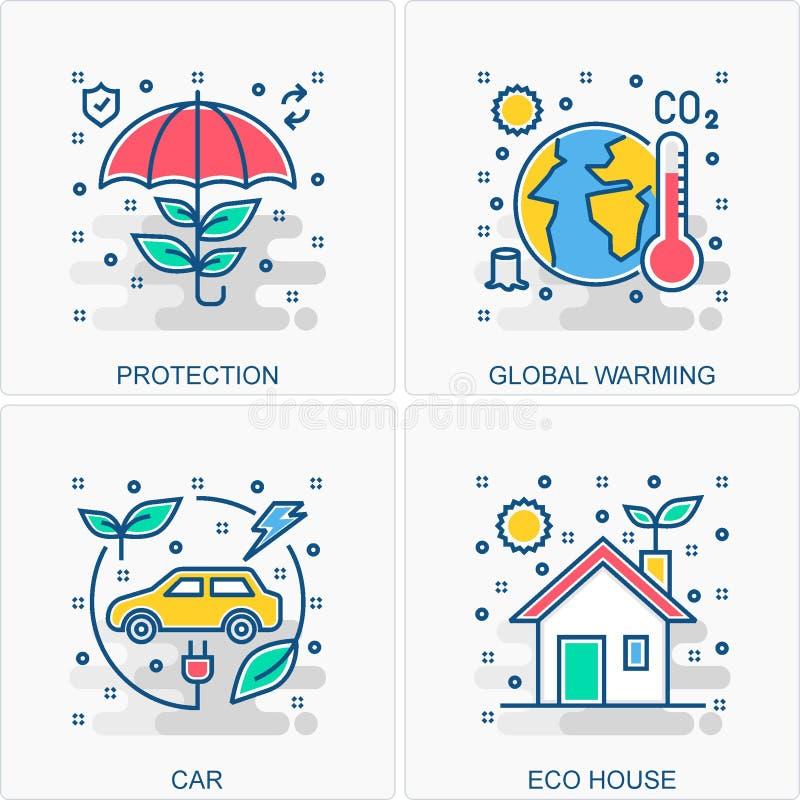 Ekologi & milj?symbols- och begreppsillustrationer royaltyfri illustrationer