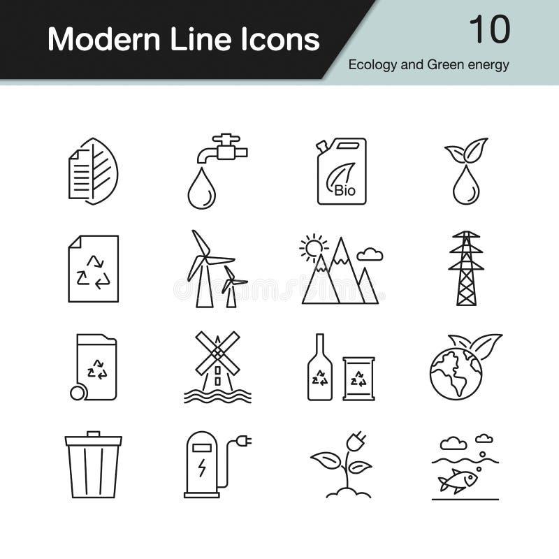 Ekologi- och gräsplanenergisymboler Modern linje designuppsättning 10 royaltyfri illustrationer