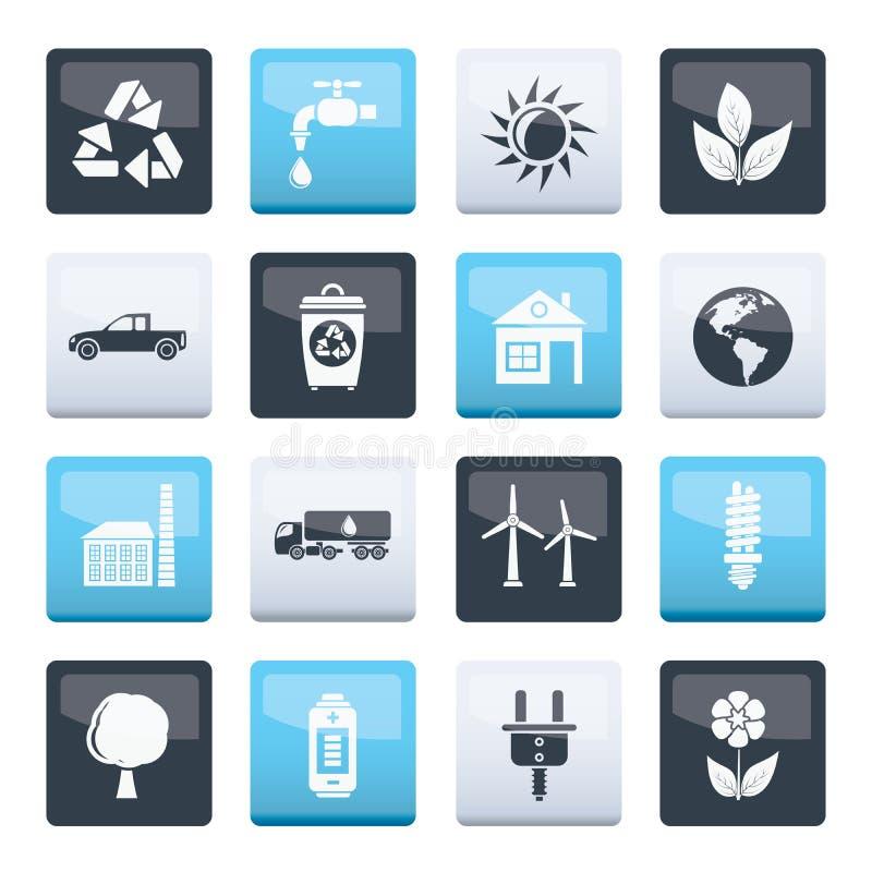 Ekologi- och miljösymboler över färgbakgrund royaltyfri illustrationer