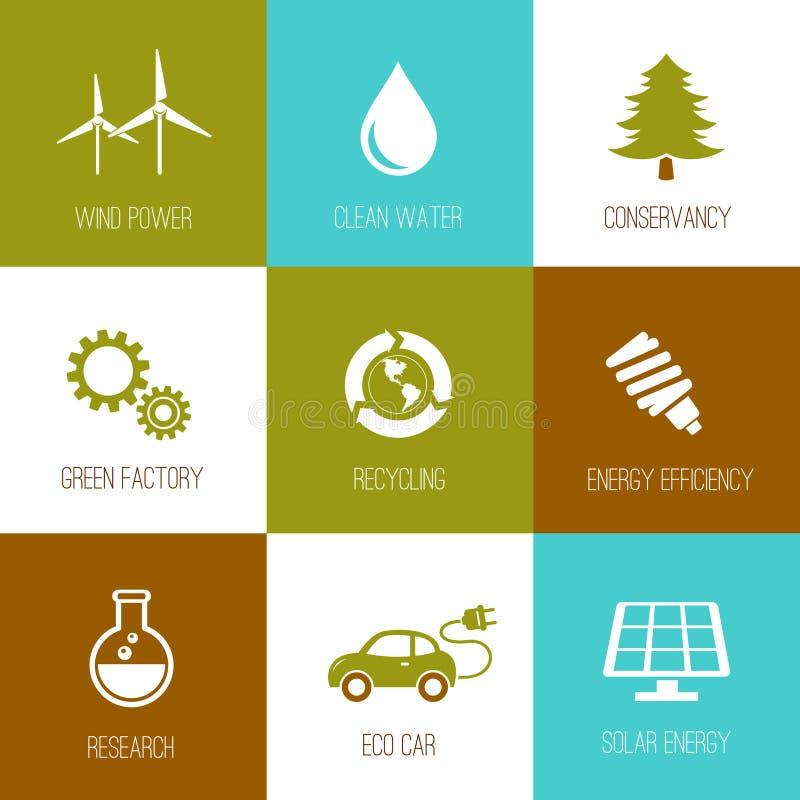 Ekologi- och naturvårdsymboler sänker planlagt royaltyfri illustrationer