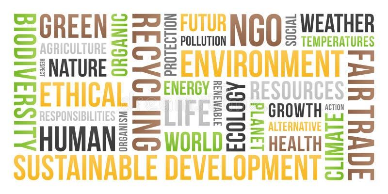 Ekologia, środowisko, podtrzymywalny rozwój - słowo chmura ilustracja wektor
