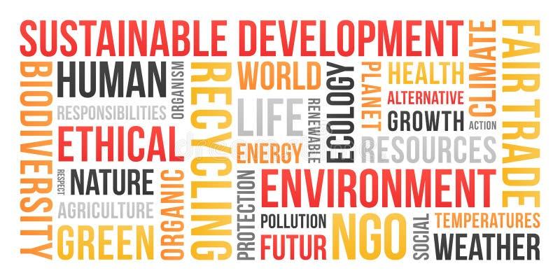 Ekologia, środowisko, podtrzymywalny rozwój - słowo chmura ilustracji