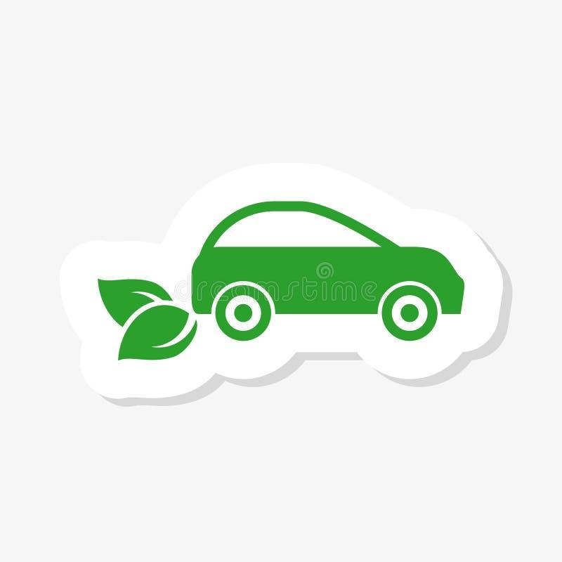 Ekologia i Środowiskowy majcheru pojęcie, Samochodowy symbol Z Zielonymi liśćmi ilustracji