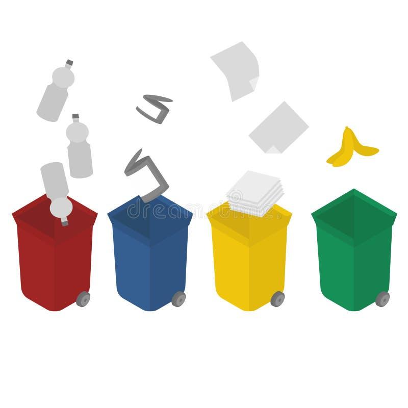 Ekologia i przetwarza Sortować śmieci Plastikowi zbiorniki dla śmieci różni typ Kubeł na śmieci dla przetwarzać royalty ilustracja