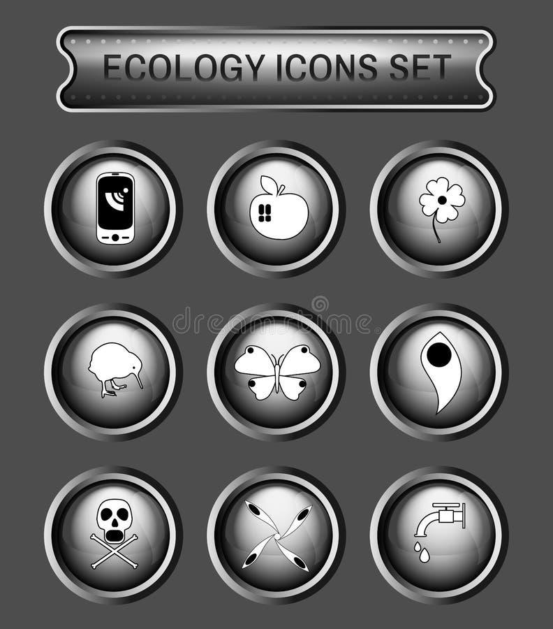 Ekologia loga ikony set royalty ilustracja
