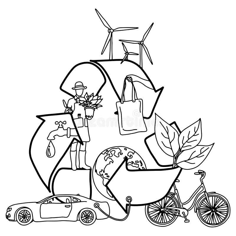 Ekologia projekta pojęcie z Przetwarza symbolu nakreślenia doodle wektorową ilustracyjną rękę rysującą z czarnymi liniami odizolo royalty ilustracja