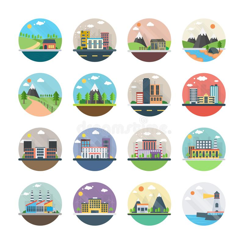 Ekologia, przemysł, miasto i wsi mieszkania ikony, royalty ilustracja