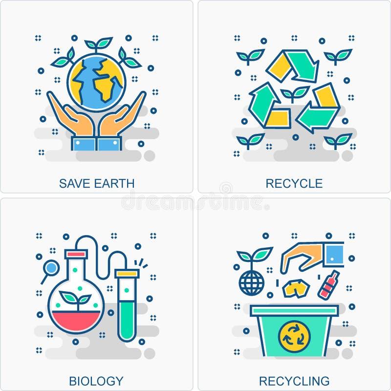 Ekologia, ?rodowisk poj?cia & ikony ilustracje i royalty ilustracja