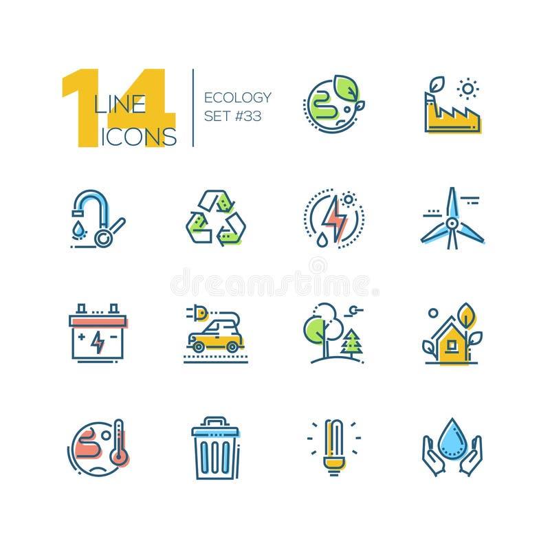 Ekologia - set kreskowe projekta stylu ikony