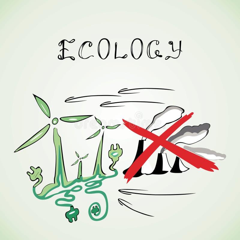 Ekologia wiatraczków fabryki krzyżowali czerwone linie ilustracji