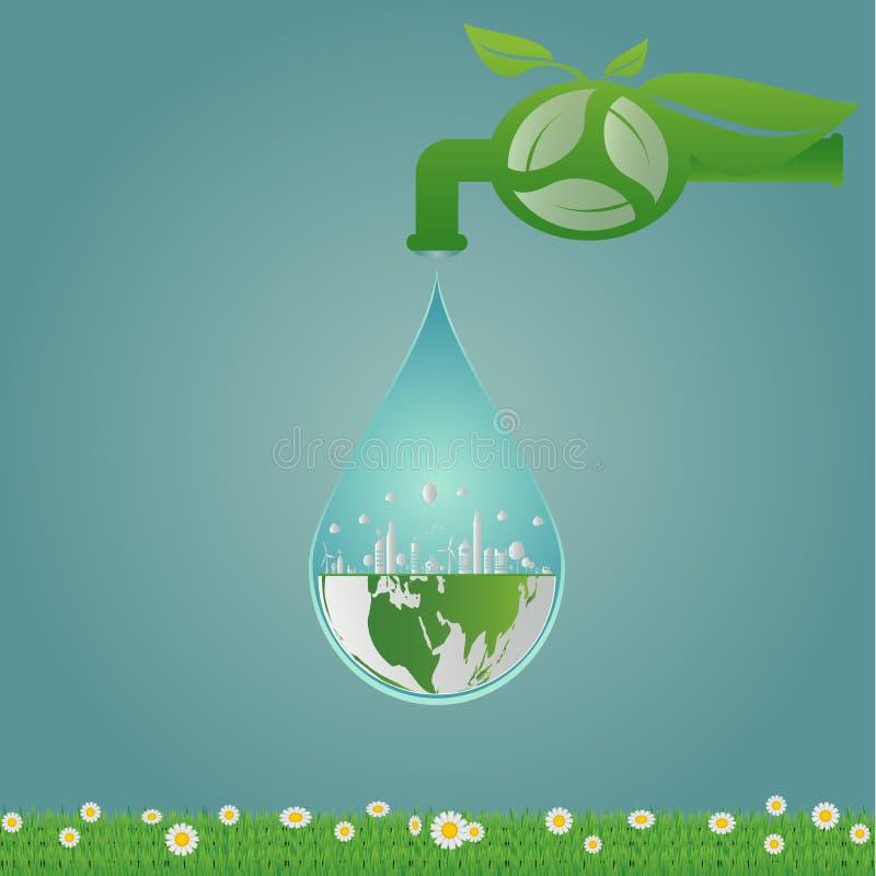 Ekologia, wodna czysta energia przetwarza, zieleni miasta pomaga światowi z życzliwymi pojęcie pomysłami ilustracja ilustracja wektor