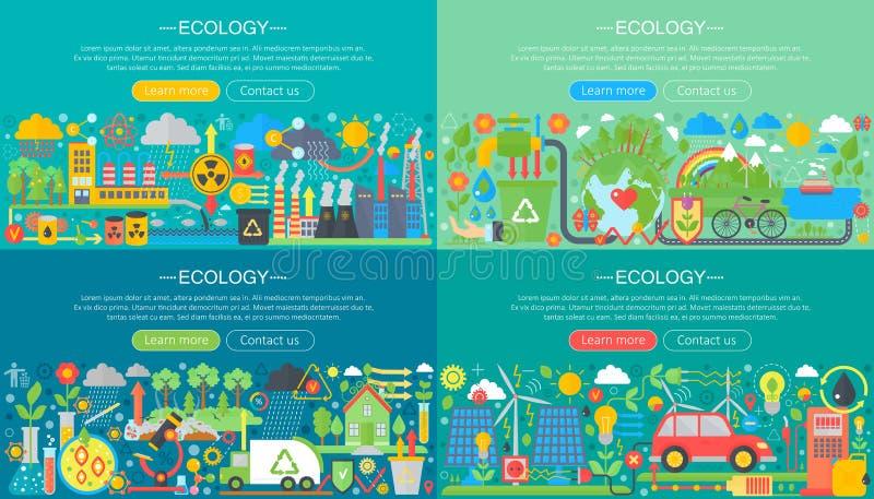 Ekologia, zielenieje technologię, przetwarza oprócz planety pojęcia projekta horisontal płaskich horyzontalnych sztandarów ustawi ilustracja wektor