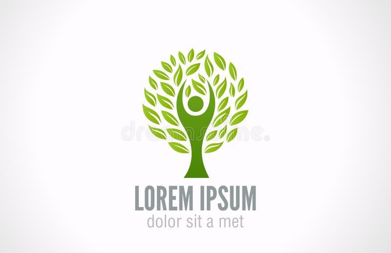 Ekologibegrepp. Mall för logo för Eco gräsplanträd. royaltyfri illustrationer