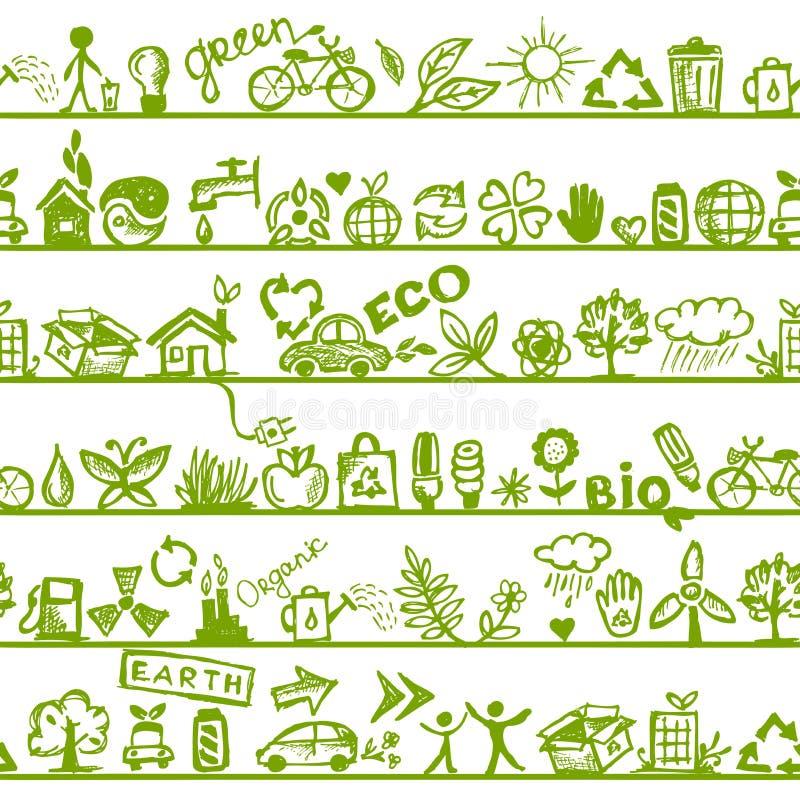 Ekologibegrepp. Seamless mönstra för din design stock illustrationer