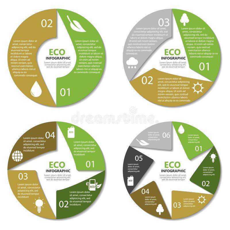 Ekologicirkeldiagram, runt infographic Naturbegrepp med 2, 3, 4, 6 alternativ vektor illustrationer