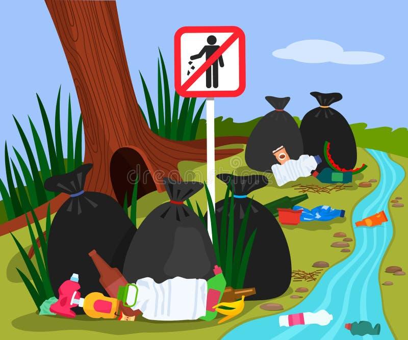 Ekologiczna katastrofa od klingerytu odpady w lasowego lasu krajobrazu śmieciarskim usypie i grat toreb w rzece Przerwa grata zna ilustracji
