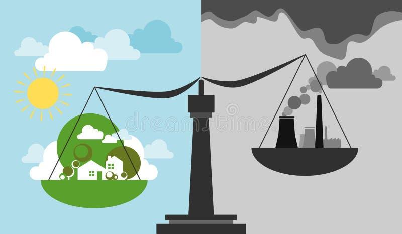 Ekologiczna skala i równowaga ilustracja wektor