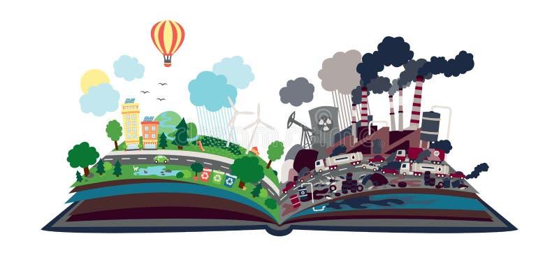 Ekologiczna wiadomość w formie otwarta książka Połówka zanieczyszczająca, przyrodni naturalny z energii odnawialnych źródłami nas royalty ilustracja