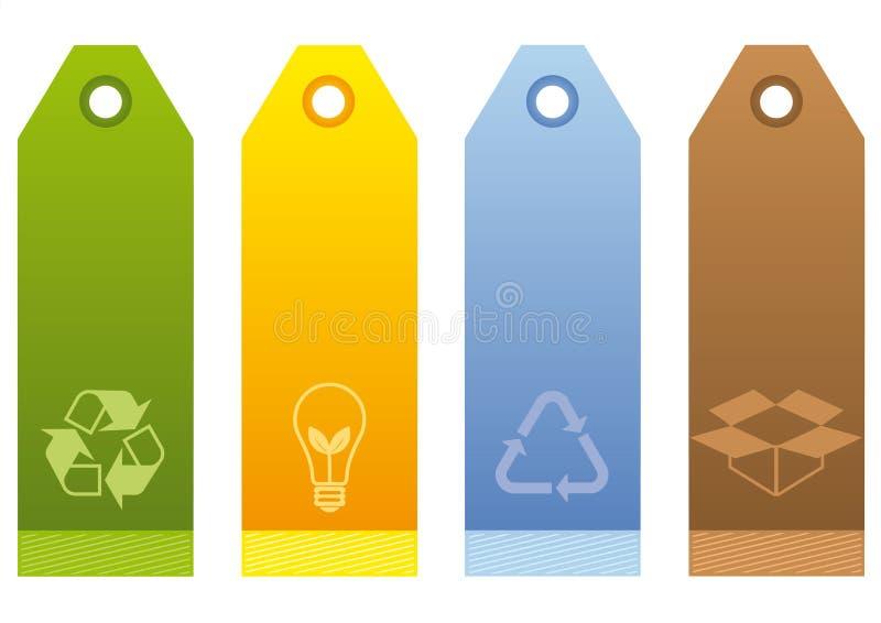 ekologiczne etykietki ilustracja wektor