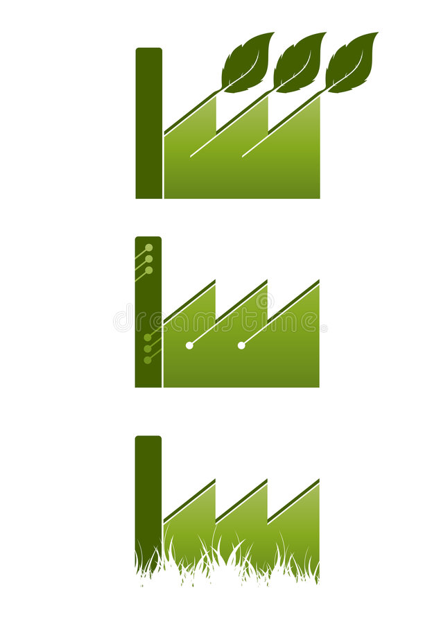ekologiczne ikony fabryczne ilustracji